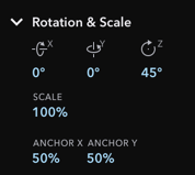 Inspector Section for Rotation & Scale