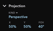 Inspector Section for Projection
